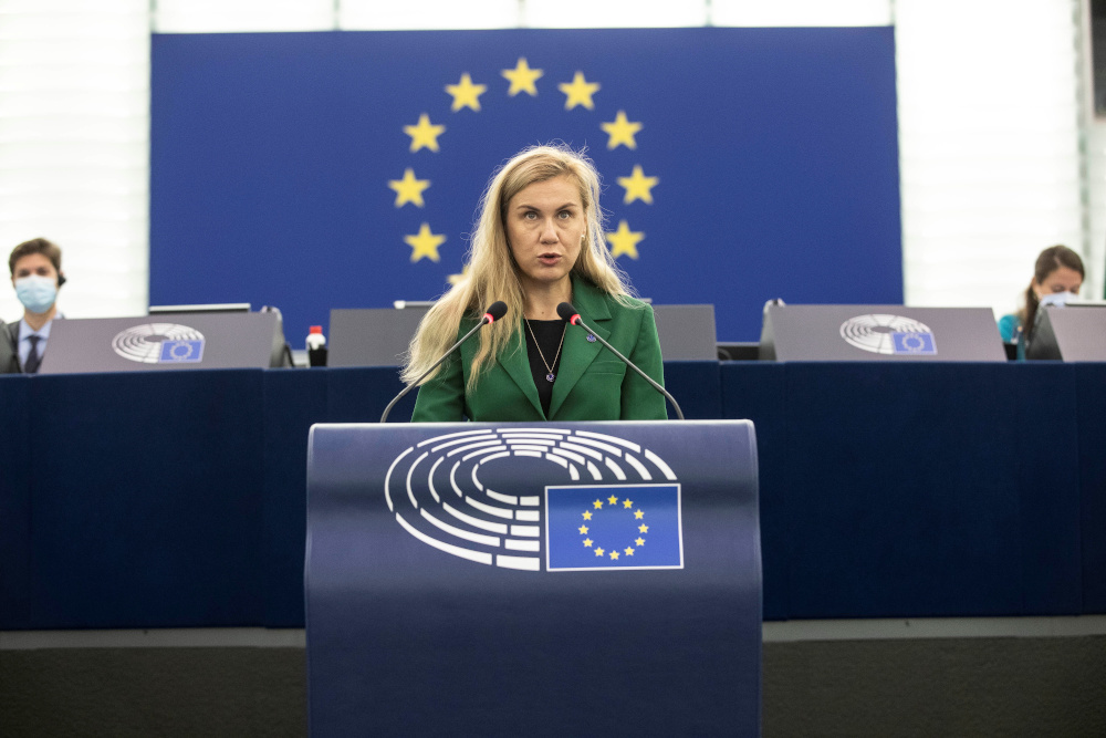 European Commissioner for Energy Kadri Simson speaks about European solutions to the rise of energy prices for businesses and consumers at the European Parliament, in Strasbourg October 6, 2021. — Reuters pic