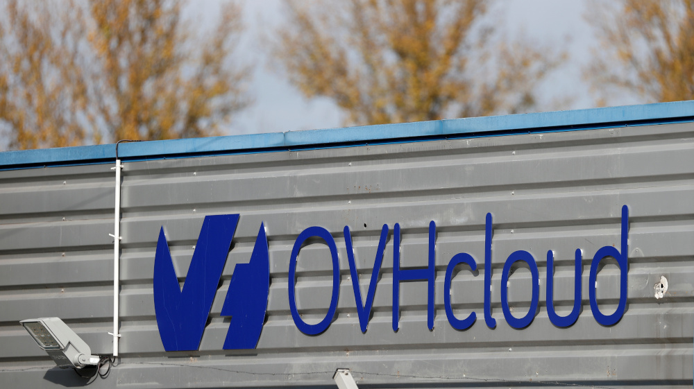 The logo of French cloud computing company OVHcloud is seen on a data-centre building in Strasbourg October 13, 2021. — Reuters pic