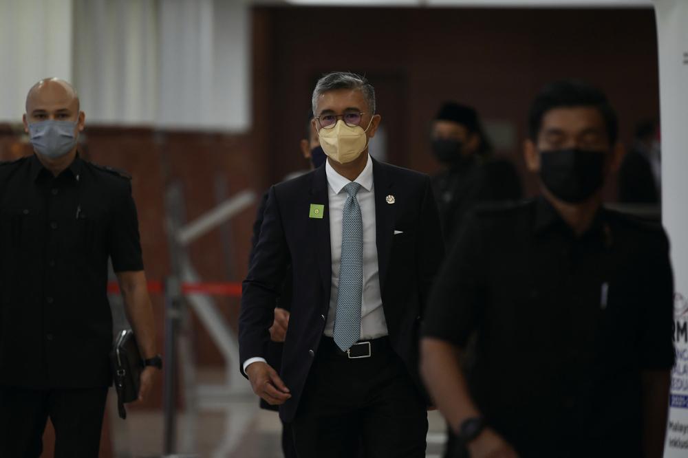 Finance Minister Datuk Seri Tengku Zafrul Abdul Aziz is pictured at Parliament, Kuala Lumpur October 11, 2021. — Bernama