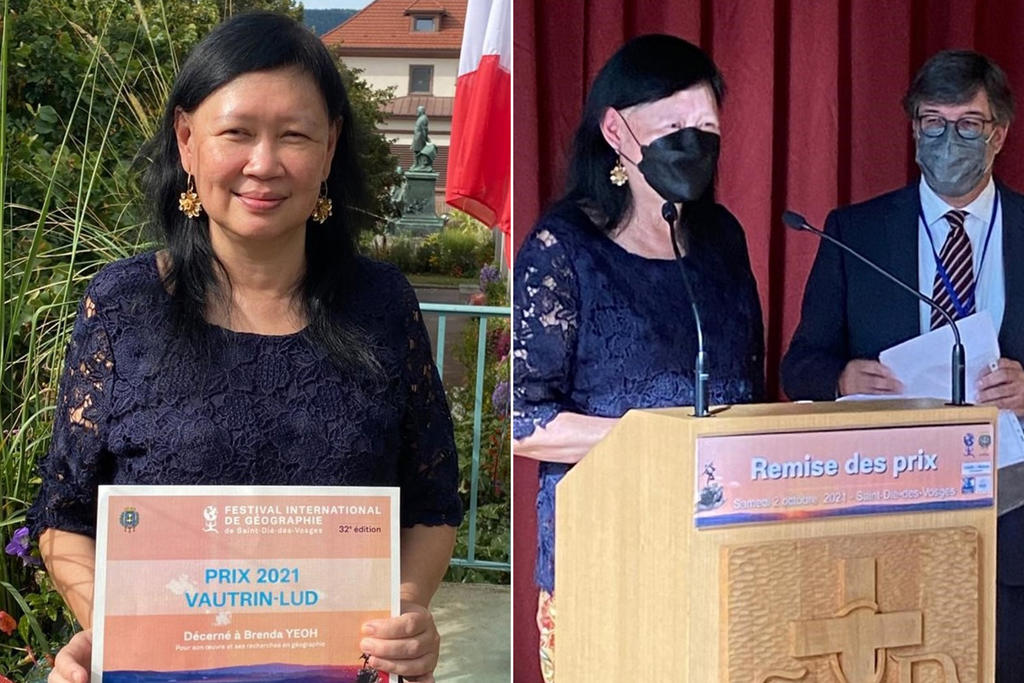 Professor Brenda Yeoh of the National University of Singapore receiving the Vautrin Lud Prize, the world's highest honour in the field of geography, at a presentation in France. ― Picture courtesy of Professor Brenda Yeoh/NUS