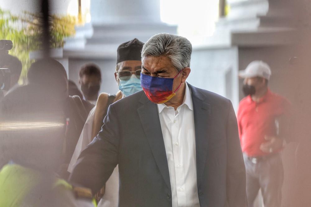 Datuk Seri Ahmad Zahid Hamidi is pictured at Kuala Lumpur High Court October 4, 2021. — Picture by Ahmad Zamzahuri