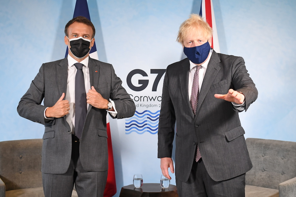 Britain's Prime Minister Boris Johnson and France's President Emmanuel Macron attend a bilateral meeting during G7 summit in Carbis Bay, Cornwall, Britain, June 12, 2021. ― Reuters pic