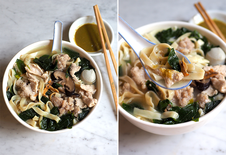 You can go for the classic 'pan mee' served with a clear anchovy broth, vegetables, pork slices and fried 'ikan bills'. (right) Make sure you add their tangy green chilli with the springy noodles for the 'pan mee'.