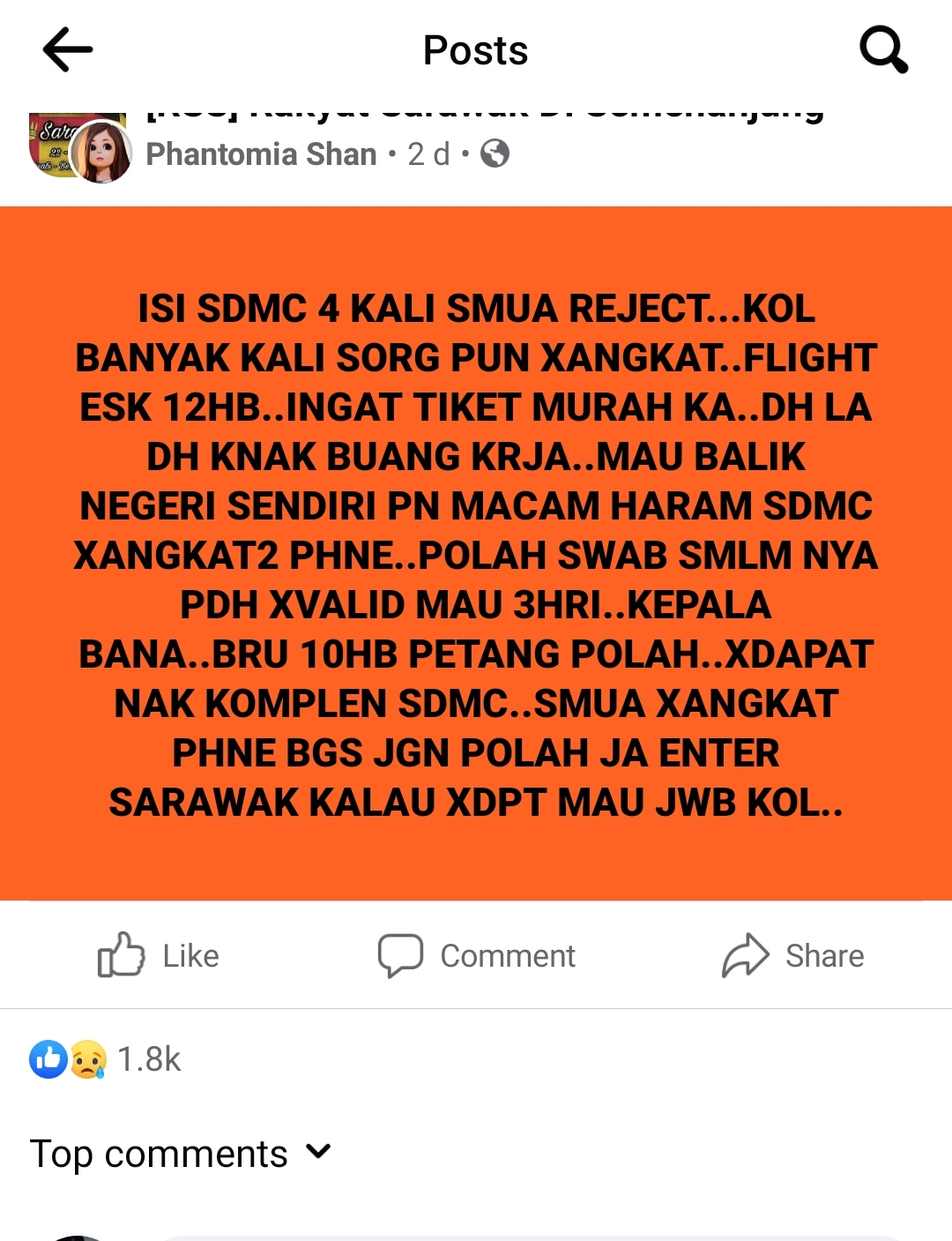 Phantomia Shan shared a Facebook post two days ago, venting her frustrations at being unable to return to her home state after losing her job in KL.