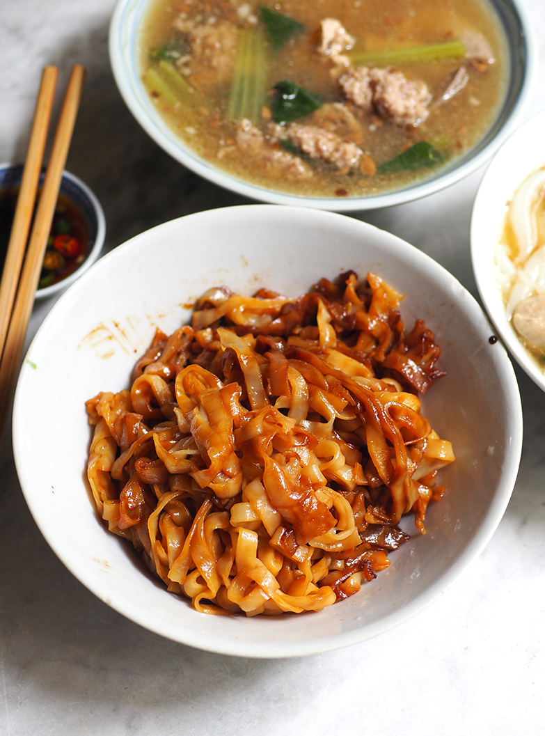 You can opt for the dry version of pork noodles tossed with dark soy sauce and the soup served on the side.