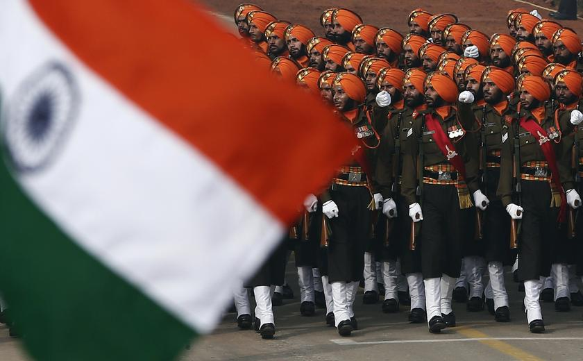 Indian Army soldiers march during the Republic Day parade in New Delhi January 26, 2014. — Reuters pic