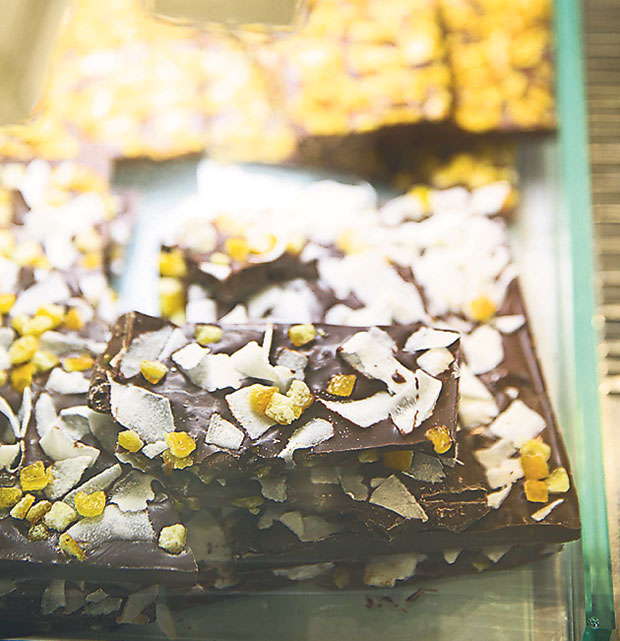 The Coconut Orange Peel brittle is a dark chocolate bark with coconut flakes and candied orange peel