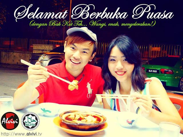 The picture depicting Alvin Tan and Vivian Lee eating bak kut teh and describing it as 'wangi, enak, menyelerakan' (fragrant, delicious, appetising). - Picture taken from Facebook