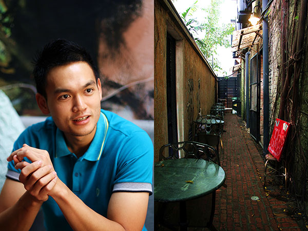 Burps & Giggles is the brainchild of 27-year-old Dexter Song, a former finance and logistics professional in Melbourne (left). Plenty of shade and ambiance in the back alleys (right)