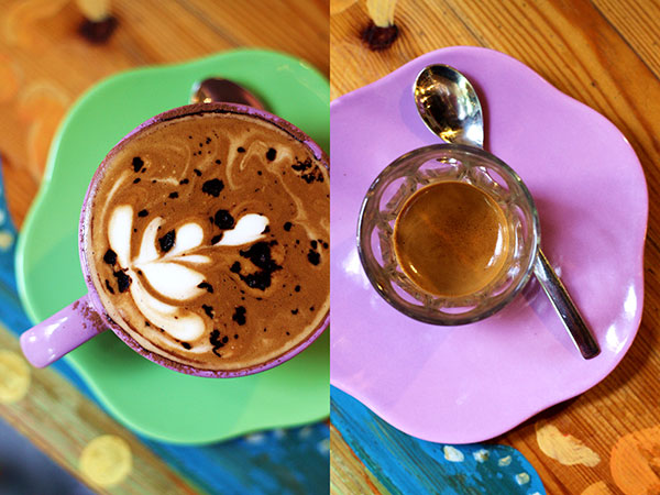 Perhaps the best place for cappuccino (left) and espresso (right) in Ipoh