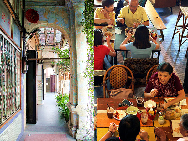 Generations of Old Town Ipoh families enjoying their meals in the converted shophouse
