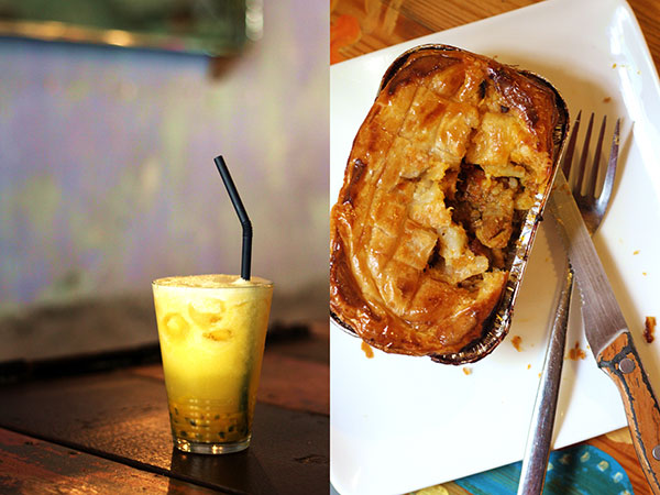 Casual brunch fare: passionfruit-pineapple juice (left) and chicken curry pie (right)