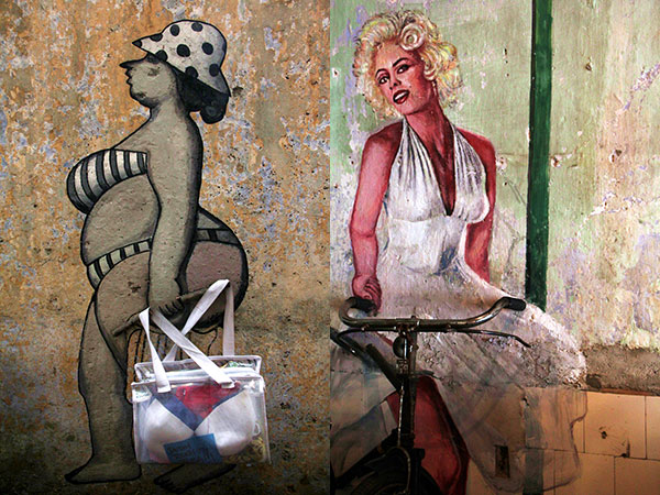 The walls are alive with kooky murals like these (left). A saucy Marilyn Monroe stencil stands guard over a bicycle (right)