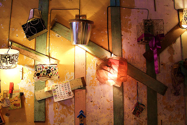 Unusual and ornate lamps made from scratch by Song's partner Rachel