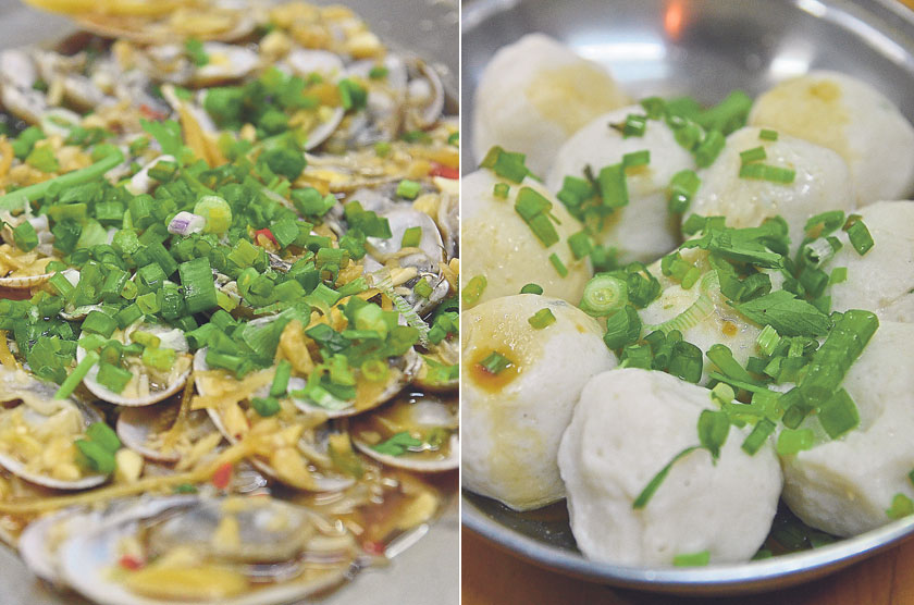 Despite its small size, the steamed la-la clams served with a zesty lemon sauce is worth all the work (left). The simple but tasty homemade saito fish balls are dressed with a dash of garlic oil and soy sauce (right)