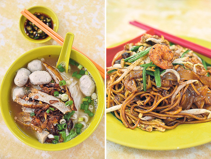 "Loke Wooi Kee serves one of the oldest and most popular versions of Hor Hee in Ipoh (left). The Char Kuey Teow comes with an abundance of shrimps, cockles, waxed sausages, bean sprouts and Chinese chives, and fried with much ""wok hei"" (right) — Pictures by James Tan"