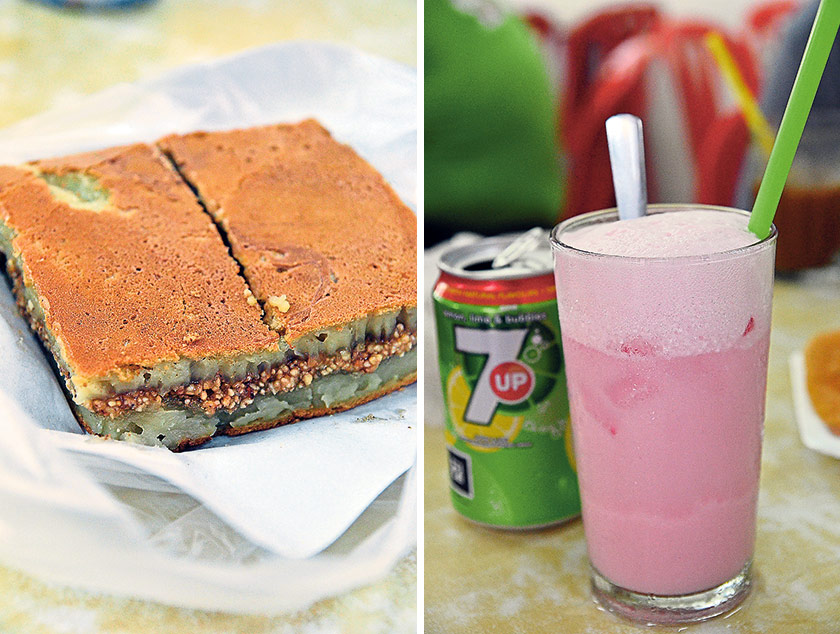 Pillowy soft and stuffed with crushed peanuts and sugar, the Apom Balik makes for a light snack that you can pack home for tea later (left). 7 Up Float; an evergreen classic at Loke Wooi Kee that will bring a smile to your face (right)