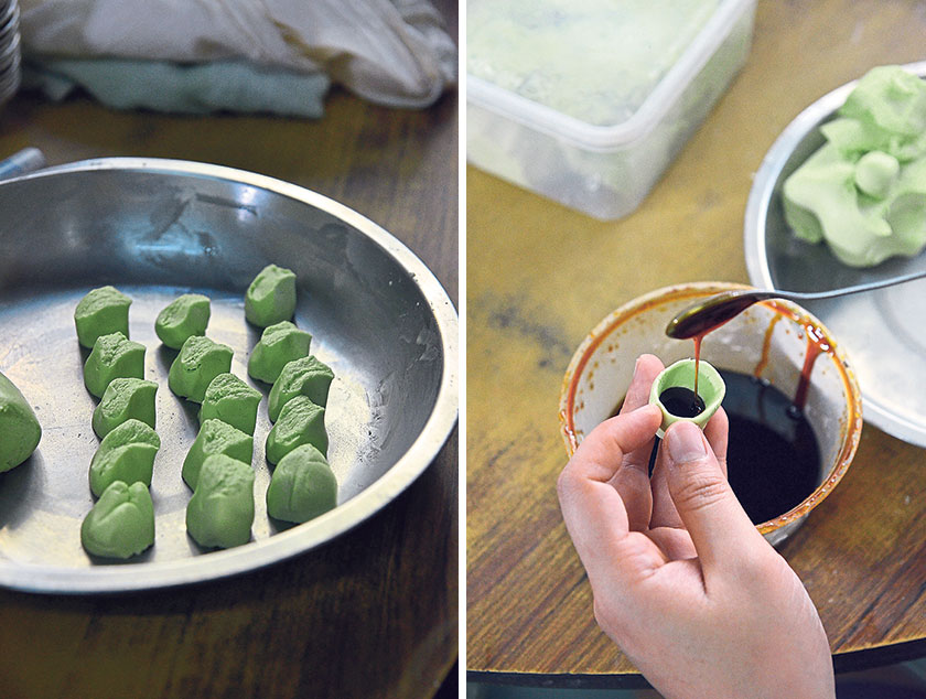 The light green dough is naturally coloured using pandan juice and pinched into tiny morsels (left). Unlike other places, they shape the dough into cups and fill it with gula Melaka syrup (right)