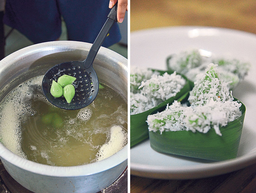The tear drop shaped dough is gently cooked in boiling water (left). The tiny onde-onde is rolled in finely grated fresh coconut and artfully arranged in pandan leaf baskets (right)