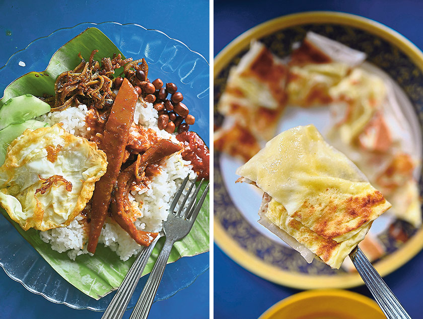Nasi Lemak with sambal sotong from Wak Nasi Lemak stall at Medan Selera Stadium Ipoh; a hearty breakfast that's a firm favourite with workers around the area (left). Roti Telur made fresh on the spot at Fuad Roti Canai; served with dhal curry and a scoop of spicy sambal (right) — Pictures by James Tan