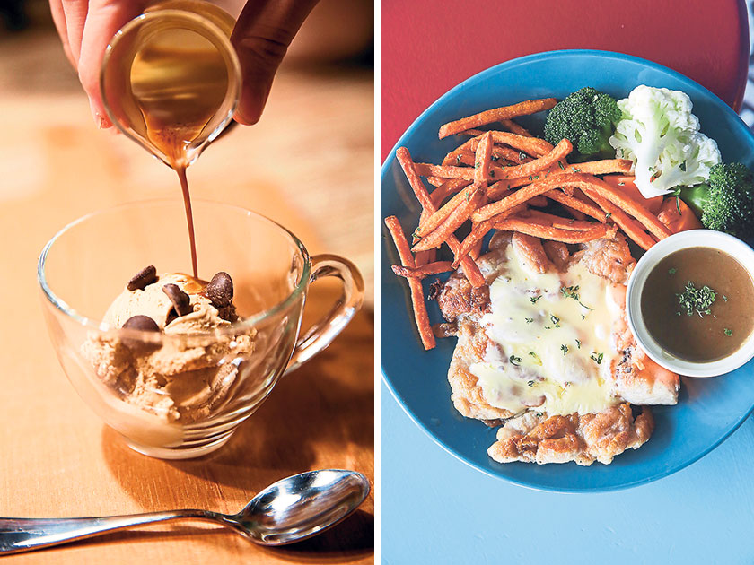 POKC's Affogato is served with Inside Scoop's ice cream (left). Try the Hainan Grilled Koi for the tender, succulent chicken topped with cheesy goodness (right).