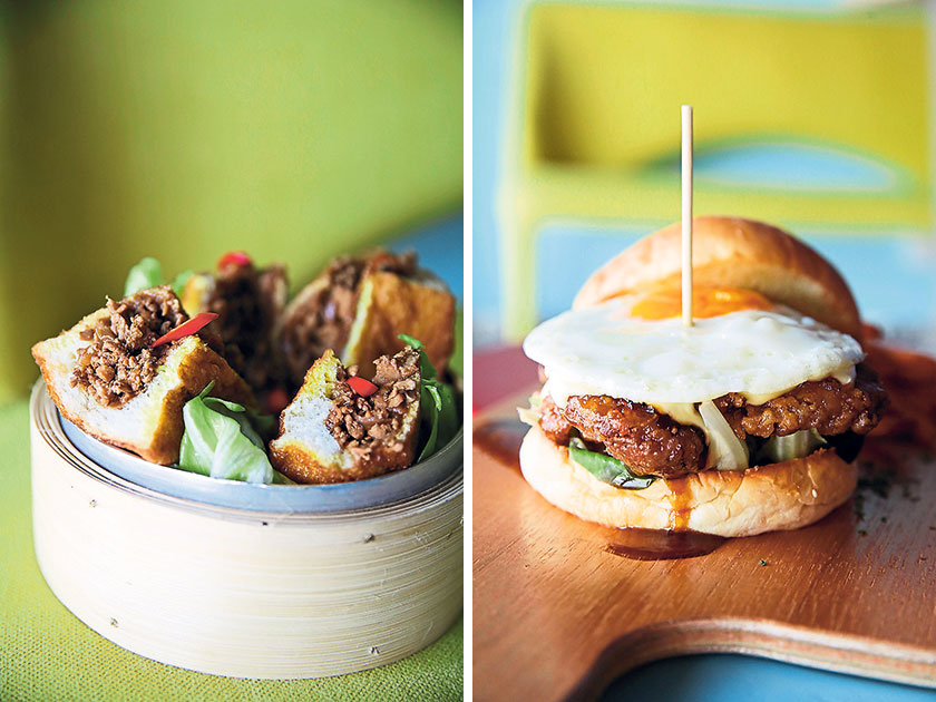 No one does roti babi like POKC (left). The Kheng Chew Koi burger is mouthwateringly yummy and irresistible (right)