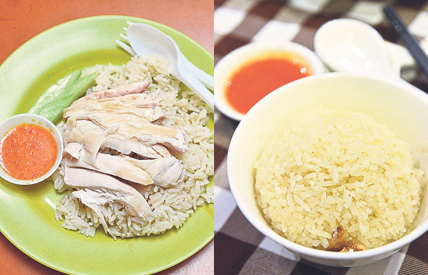 A plate of the famous Hainanese chicken rice from Tian Tian at Maxwell Food Centre will only set you back less than $5 per portion, but you just need to be patient while waiting in line (left). Good, fragrant chicken rice should always be accompanied by killer chili sauce and to some, a drizzle of dark soy sauce (right). — Pictures By James Tan