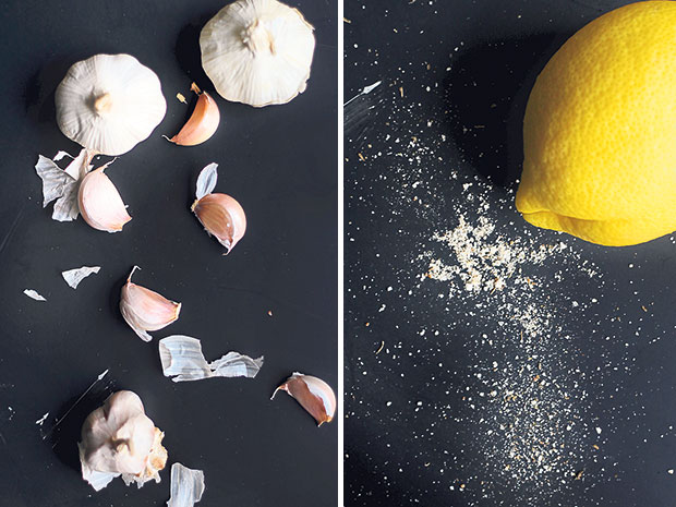 Do not be afraid of using garlic — the roasting process transforms their pungency into a caramelised sweetness (left). There is nothing like fresh lemon zest to give the dish a zing! (right)