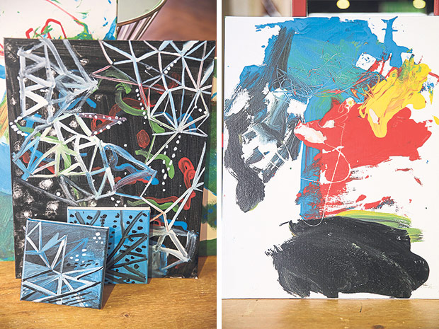 Guidance from Sembilan Art Residency's volunteer artists means Branden and Jaden get to learn different styles of art (left). The two brothers have a great sense of using colours in their artwork (right).