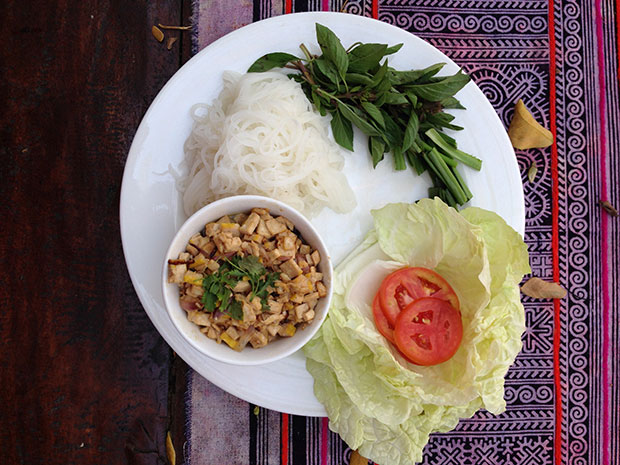 A hearty meal of minced tofu, rice noodles and Thai basil at Chai Lai's Riverside Cafe.