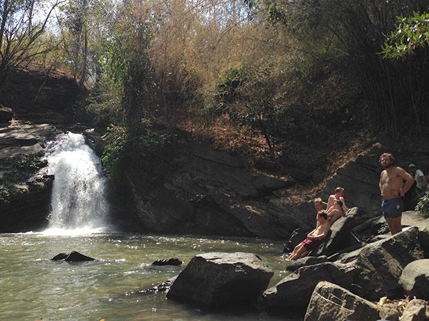 Cooling off at Mae Wang Waterfall.