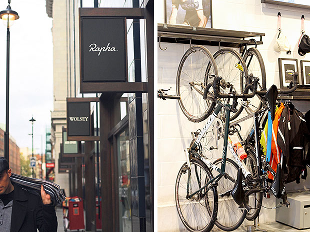 Rapha Cycle Club is a concept store pairing a cycling clothing shop and a café (left). At Rapha Cycle Club, in addition to bicycles, wind jackets and bib shorts, there is coffee too! (right).