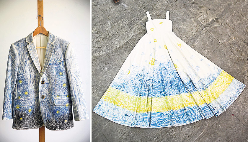 Man Chien's androgynous Wax Doodle Men's Tailored Jacket is made of washed canvas. Method: Hand-drawn fireflies and doodles using wax dye (left). Man Chien's Wax Doodle Summer Dress is made of pure cotton. Method: Hand-drawn butter cookies and doodles with wax dye (right)
