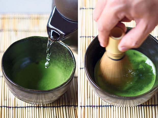 Adding hot water (filtered and brought to boil at least once) to the sifted matcha powder (left). Whisking the matcha brew with a chasen tea whisk (right).