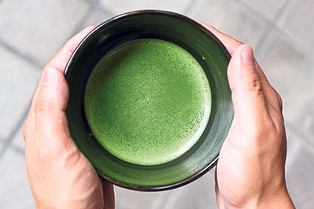 A freshly brewed bowl of matcha.