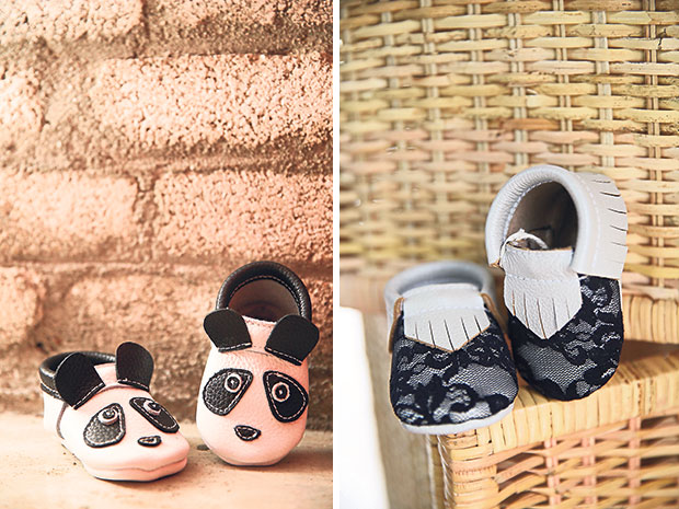 Check out these adorable panda shoes! (left). Only the best quality leather is used for each Bebebundo pair of shoes (right).