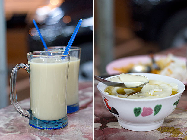 Hot soy milk spiced with heady ginger syrup made from real ginger (left). The tau foo fa (soy curd) at the pasar borong food court comes with toppings and syrups such as sesame cream, corn, lemon, jelly, lychee, and even wheatgrass! (right).