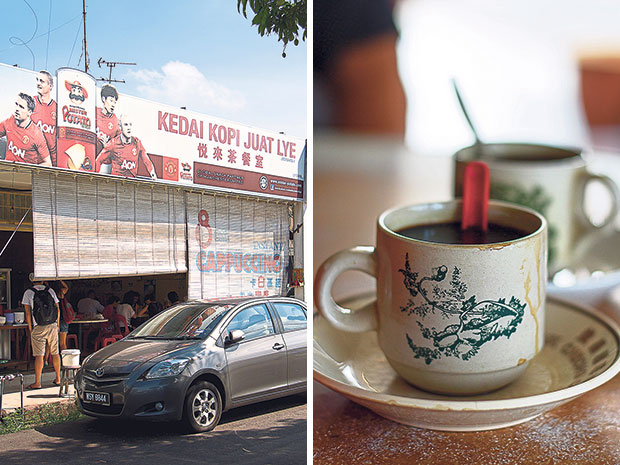Kedai Kopi Juat Lye is hidden in a quiet part of Taman Peringgit Jaya, which is why it's only frequented by locals in the know (left). Kopi O kaw at Juat Lye, a heavy brew of black local coffee (right).