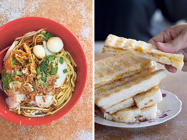 Juat Lye's yee kiao mee with bouncy fish balls, sliced fish cake, slivers of foo chuk (bean curd skin rolls), and diced spring onion (left). Authentic Hainanese toast: real butter is used at Juat Lye, paired with kaya that is redolent of pandan and fresh eggs (right).
