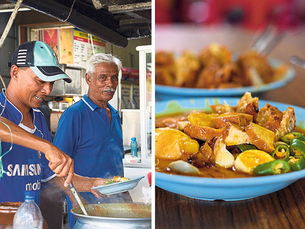 Abdul Rahim Jenu watches as his son Mohd Nishar ladles more of their umami-rich gravy onto a plate (left). Abdul Rahim Jenu's mee rebus is popular with Malaccans of all ages (right).