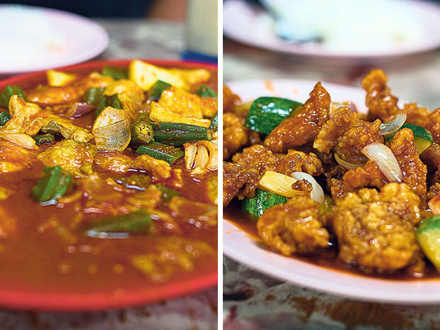Ah Boy Asam Fish uses fresh ikan bawal (pomfret) in their asam pedas, cooked with okra, long beans and pineapple chunks in a spicy-sour gravy (left). The sweet-and-sour pork at Ah Boy Asam Fish is uniformly tender without any of the hard gristle (right).