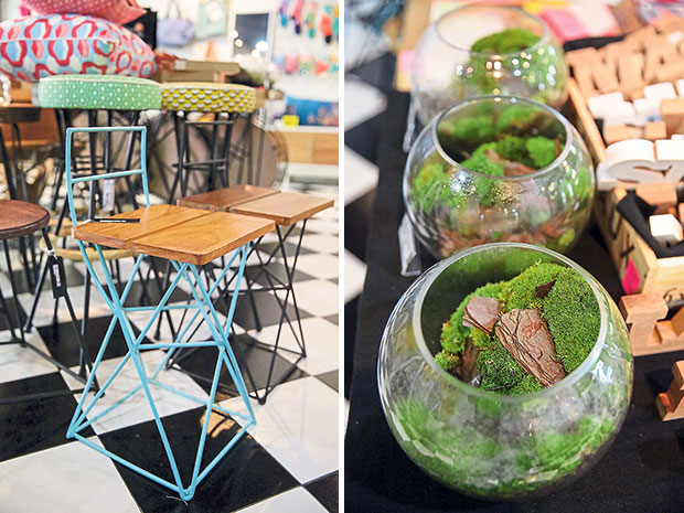 This chair from Wood & Steel defies the norm in furniture design (left). Get your very own terrarium from Riumz at DESIGNation's store in Publika (right).