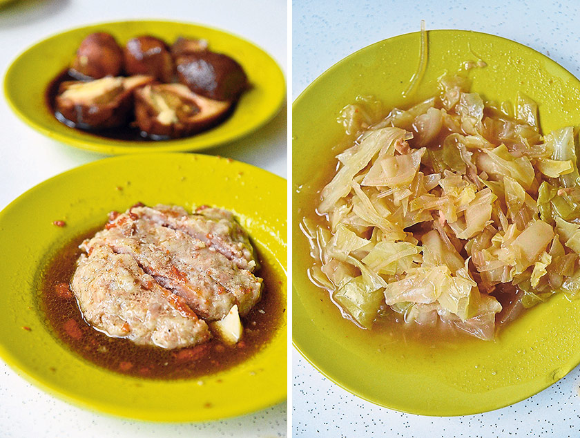 Steamed minced pork patty is a signature dish not to be missed (left). 'Chap chye' in a Hainanese curry rice stall is boiled cabbage to a soft texture, short of to a pulp, and soaking in a sweetish, savoury broth (right)
