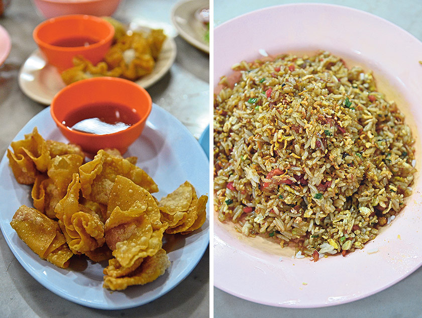 """Hands down my most favourite fried wanton in Ipoh; Hoong Tho's version is crunchy, tasty and not smothered in grease (left). Aside from their noodle dishes, Hoong Tho serves a version of really old school fried rice; packed with """"wok hei"""" and perfectly-balanced flavours from the rice, eggs and char siew (right)"""