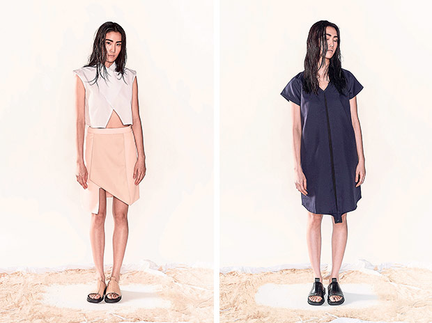The collared crop top and peach asymmetrical short skirt is a piece from the Justin Chew x KOZO collaboration (left). This Justin Chew x KOZO V-neck dress in dual colour has a pleated front and creates a flattering silhouette (right).