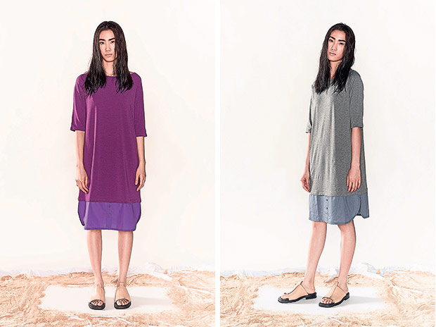 The T-shirt dress is not too feminine which is ideal for women who want to add some edginess to their look (left). If you prefer a muted colour, get the T-shirt dress in gray (right).
