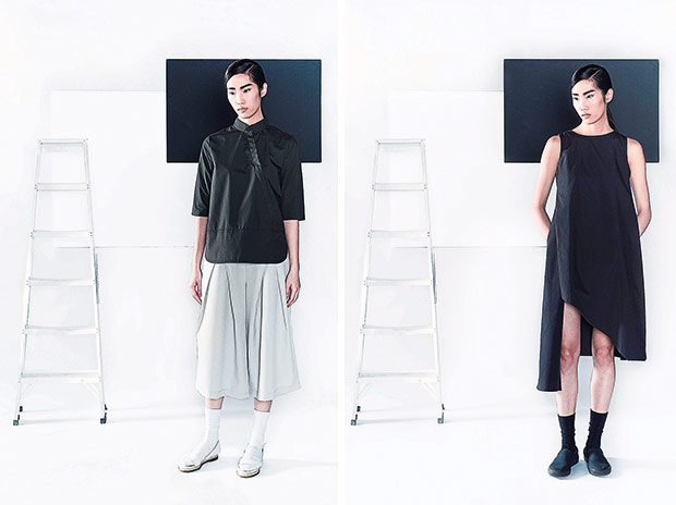 The three-quarter sleeve shirt with buttons is a nod to Asian influences (left). KOZO's asymmetrical sleeveless dress is a must-have piece for every woman's wardrobe (right).