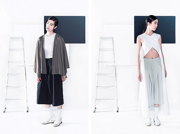 Dress up your outfit with KOZO's cape, available in black and green (left). Pair KOZO's signature X-cropped top with cropped pants (right).