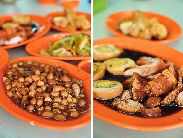 Braised groundnuts in a slightly sweetish gravy that goes well with the bland rice porridge (left). In the spirit of true Teochew tradition, the braised pork with eggs and braised beancurd are dishes that you cannot miss (right).