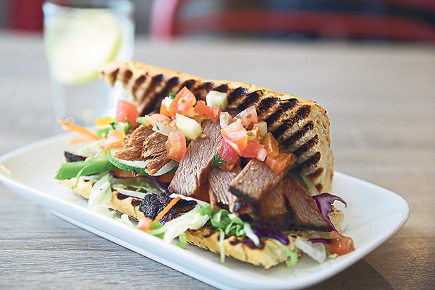 The beef brisket sandwich makes a delicious choice with an abundance of fresh vegetables